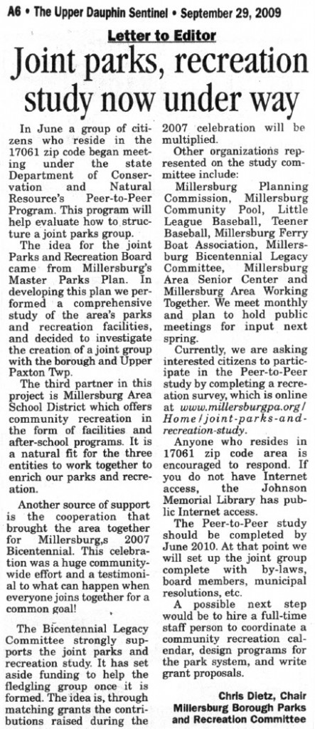 Upper Dauphin Sentinel - Joint parks, recreation study now under way